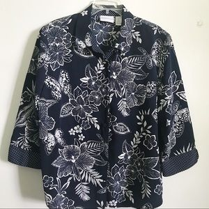 Alfred Dunner Tropical Butterfly Blouse
